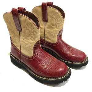 Ariat Fatbaby Red Croc Leather Suede Cowboy Boot